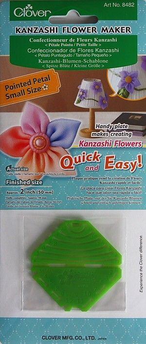 Clover Kanzashi-Blumen-Schablone - Spitze Blüte - klein - Fertige Größe ca. 50 mm - Praktische Platte, mit der Kanzashi-Blumen schnell und einfach gefertigt werden können dv-0003c-8482-4040g