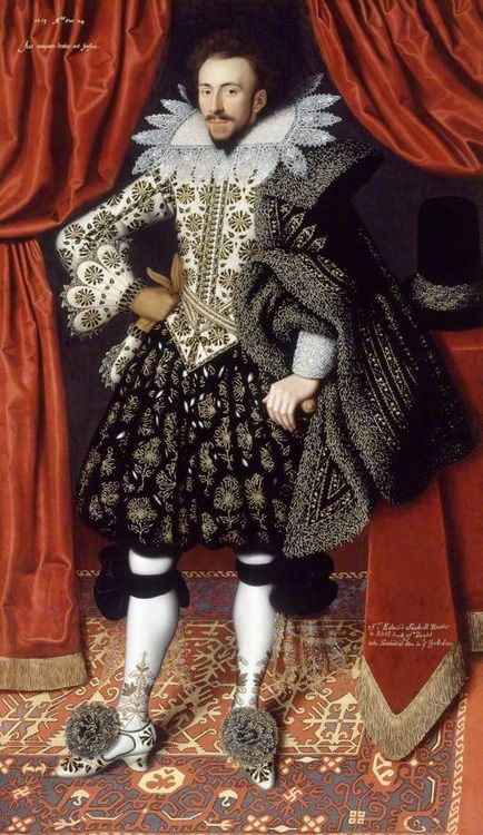 Attributed to William Larkin (English, 1585-1619), Richard Sackville (1589-1624), 3rd Earl of Dorset, c. 1613. Oil on canvas, 206.4 x 122.3 cm. Kenwood House, London.