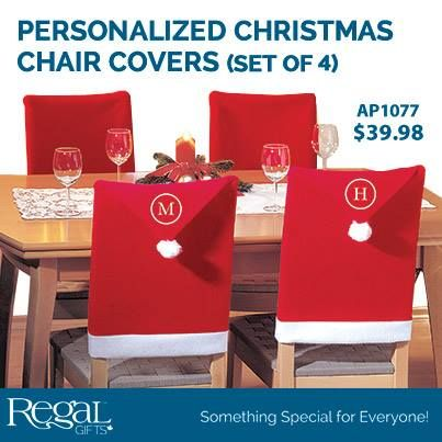 """PERSONALIZED CHRISTMAS CHAIR COVERS (SET OF 4) Spread Christmas cheer all around your dinning room table. Covers are made of soft felt. Personalize with family last name or everyone's first name initial. Personalization: Monogram, 1 character for each cover. 19-1/2""""W x 37""""H"""