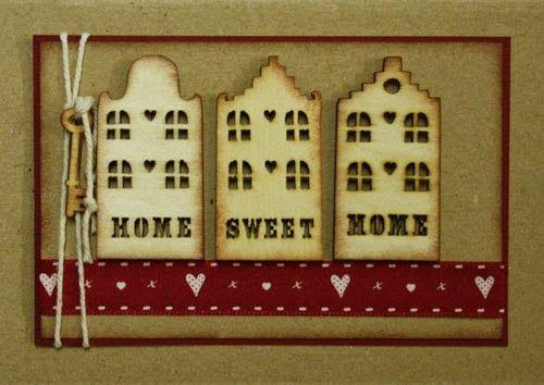 Marjoleine's blog: Kaarten met houten huisjes