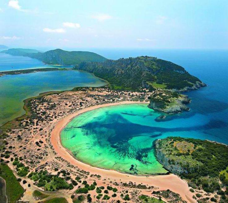 Beautiful Voidokilia beach in Pylos, Greece