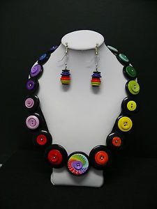 Ladies Button Necklace & Earing Set $20 plus post - more items available on my facebook page Buttons & Bits - https://www.facebook.com/#!/button.bits