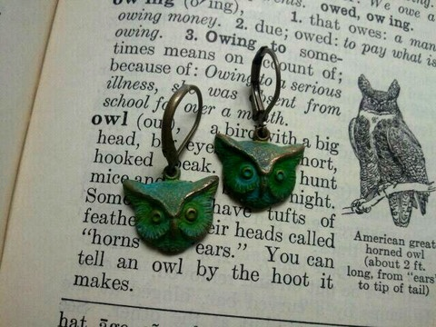 Sometimes fashion is a Hoot!  Especially with these Verdigris Owl earrings. They are stylish and fun.