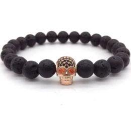 2017 pulseras negras del cráneo 2017 pulseras de moda del encanto del cráneo de Diy de la nueva llegada para el regalo de piedra de la joyería de la lava de las pulseras de los hombres negros de CZ Northskull de los hombres para los hombres pulseras negras del cráneo oferta
