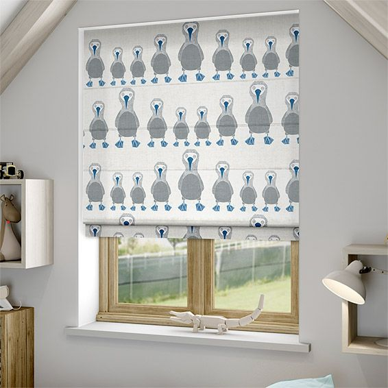 Scion have really done their bit at bringing unusual animals to the hearts and minds of us all and this Booby Bird Sapphire roman blind is just utterly adorable.