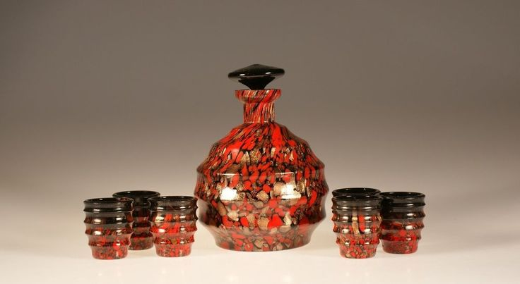 Spectacular Vintage Deco Czech Glass Red, Black & Gold Decanter Set c.1930