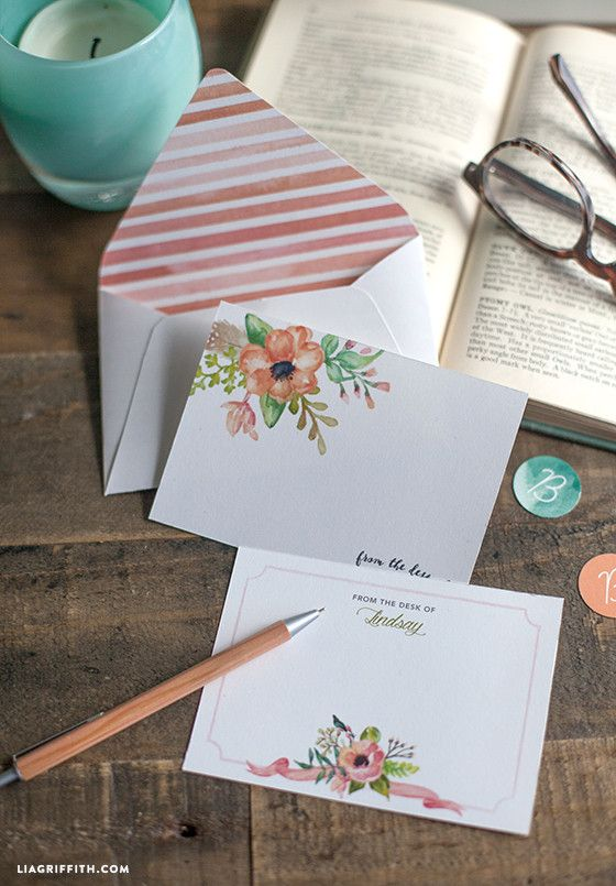 Free Printable: spring note cards and envelopes