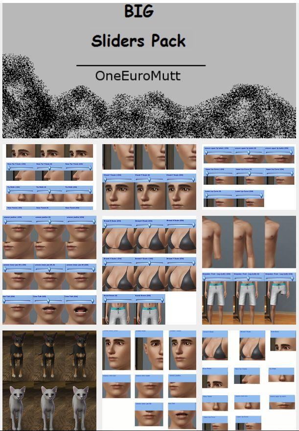 Big Slider Pack by OneEuroMutt - Sims 3 Downloads CC Caboodle