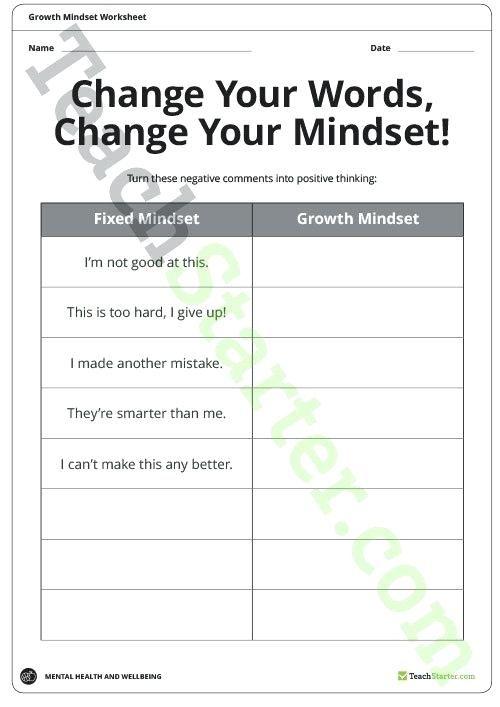 growth mindset worksheets teaching resource teach starter ...