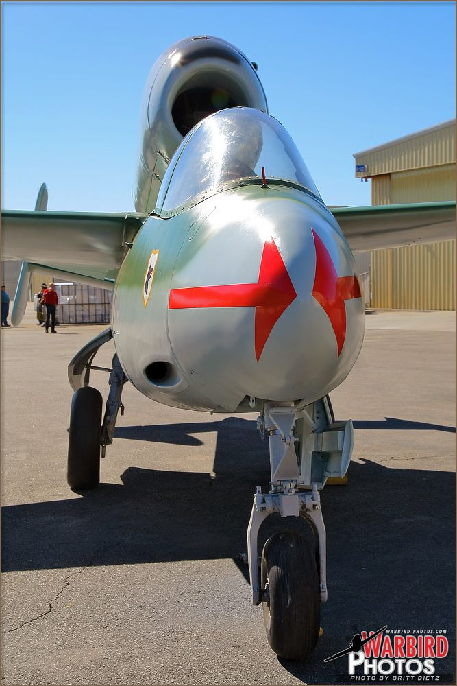 Front view of the Heinkel He 162 Volksjager (People's Fighter) aircraft, Luftwaffe 120077.