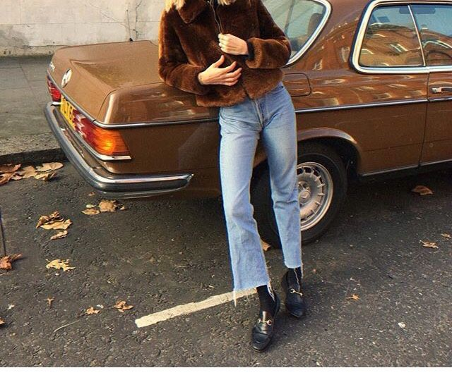 Pair a faux fur coat with cropped denim flairs and loafers for an instantly stylish yet casual look