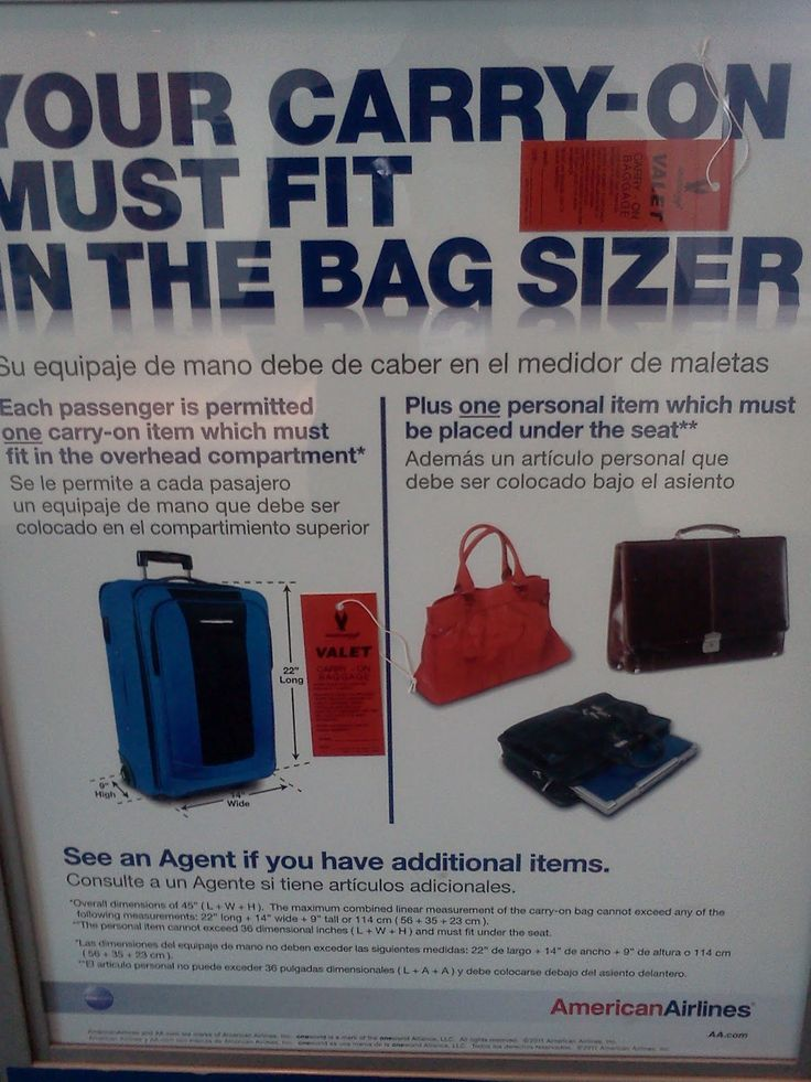 American Airlines American Eagle Carry On Bag Must Fit In