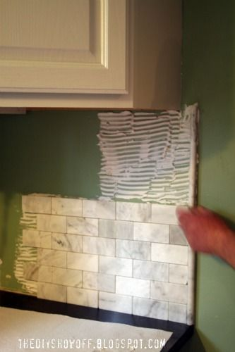 marble backsplash installation tips/includes link for cabinet painting
