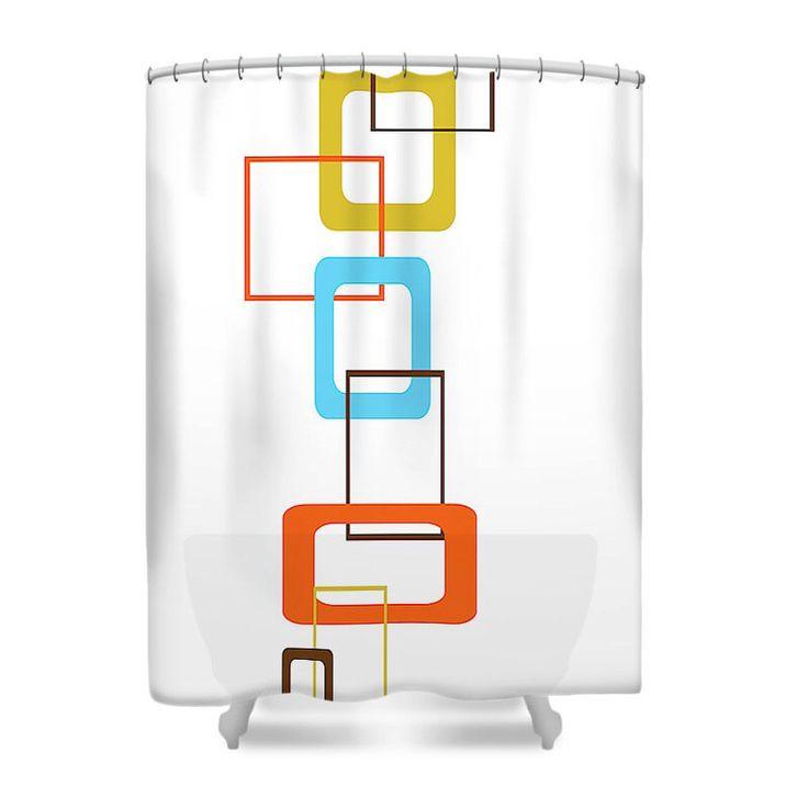 Modern Shower Curtain, Mod Shower Curtain, Mid Century Modern Shower Curtain,  Geometric Shower