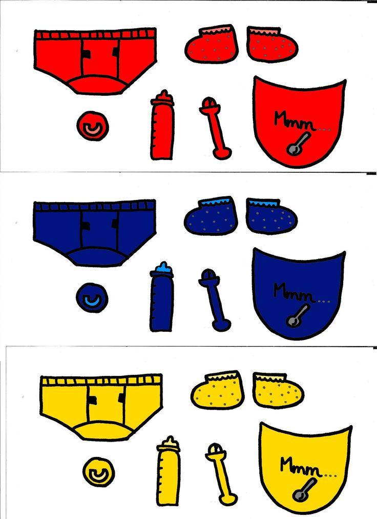 Babyaccessoires rood blauw geel: aankleedspel