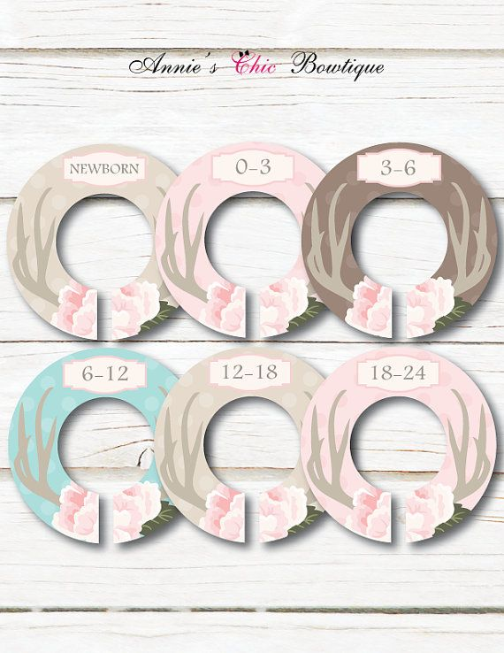 Deer Antlers Baby Closet Dividers, Baby closet organizers, Deer antlers and flowers sold by AnniesChicBowtique