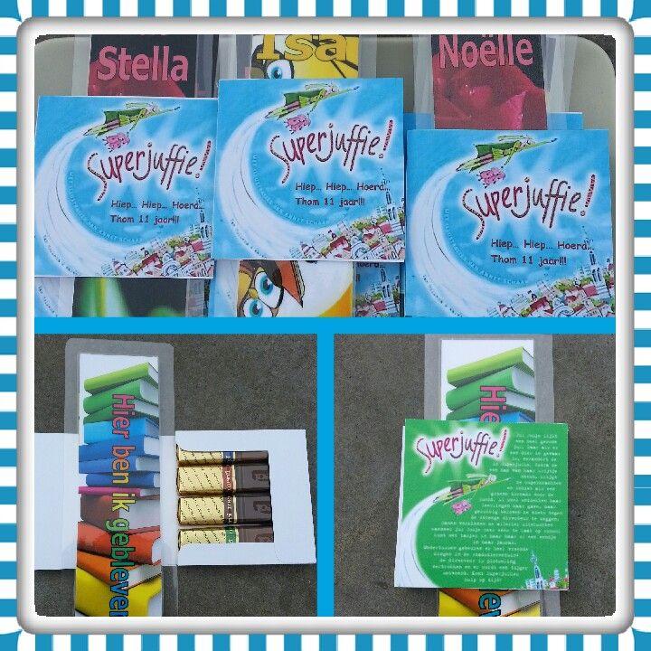 Traktatie voor de juffen en meesters. Een doosje met 4 merci chocolade erin. Door de afbeelding erop lijkt het net een boekje. Leuk met de zelf gemaakte boekenlegger erbij mey hun naam erop. De uitleg van het doosje kan je vinden op www.aleidaskaartjes.blogspot.nl/p/merci-doosje.html