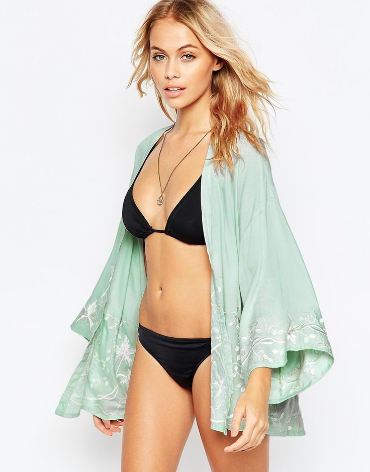 Image 1 of ASOS Vine Embroidered Beach Kimono