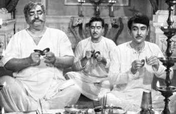 "Three generations of the Kapoors: Prithviraj Kapoor, Raj Kapoor and Randhir Kapoor in ""Kal Aaj Aur Kal"""