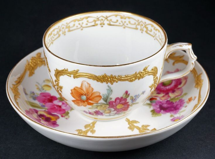 """Up for sale is a KPM Royal Porcelain Factory Berlin hand painted 2 1/8"""" tall cup and 5 3/8"""" wide saucer. Hand Wash fine porcelain/china and glass and do not place in the dishwasher or microwave. 