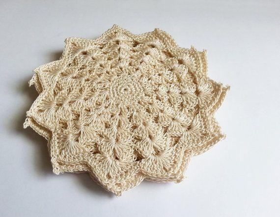 Set of 6 beige doilies crochet home decor cotton doily set #weddingbouquet #ringbox