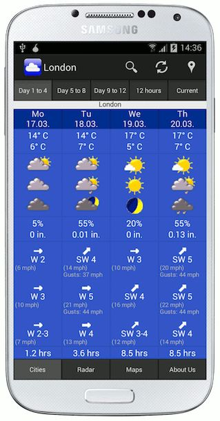 Weather App WeatherOnline