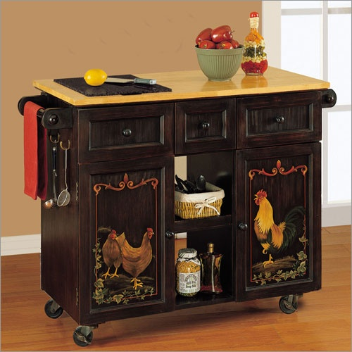 Black Painted Kitchen Island: Hen And Rooster Cabinet