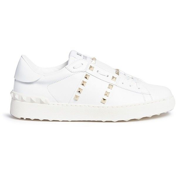 Valentino 'Rockstud Untitled 11' leather sneakers (13.402.995 IDR) ❤ liked on Polyvore featuring shoes, sneakers, white, white leather trainers, valentino trainers, leather trainers, white leather sneakers and white trainers