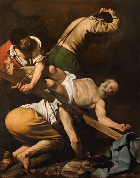Caravaggio's crucifixion of St Peter.  A difficult subject since Peter insisted on being crucified upside down.
