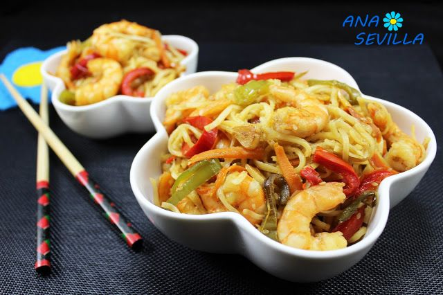 Noodles con verdura y langostinos | Comparterecetas.com