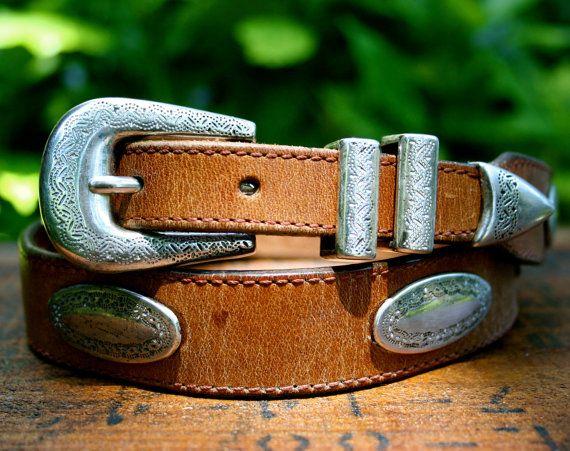 Vintage Boho Southwestern Tan Brown Leather Belt with Silver Medallions M