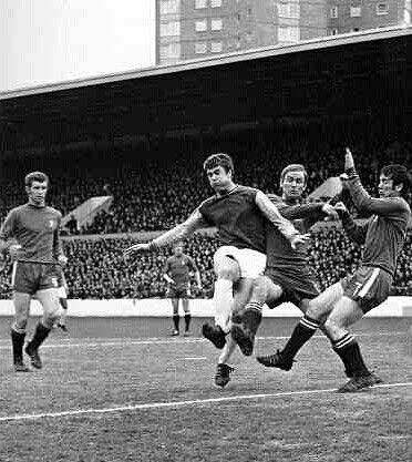 West Ham 0 Chelsea 0 in April 1969 at Upton Park. Geoff Hurst fails to get on the end of a cross in the Division 1 clash.
