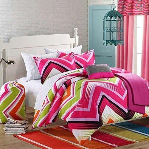Girls Teen Comforter Bedding Bed Bag Set Pink Black Green Stripes Sheets Pillow Throw Blanket