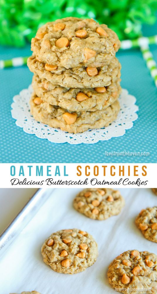 An easy and delicious recipe for Oatmeal Scotchies Cookies.  I love butterscotch!