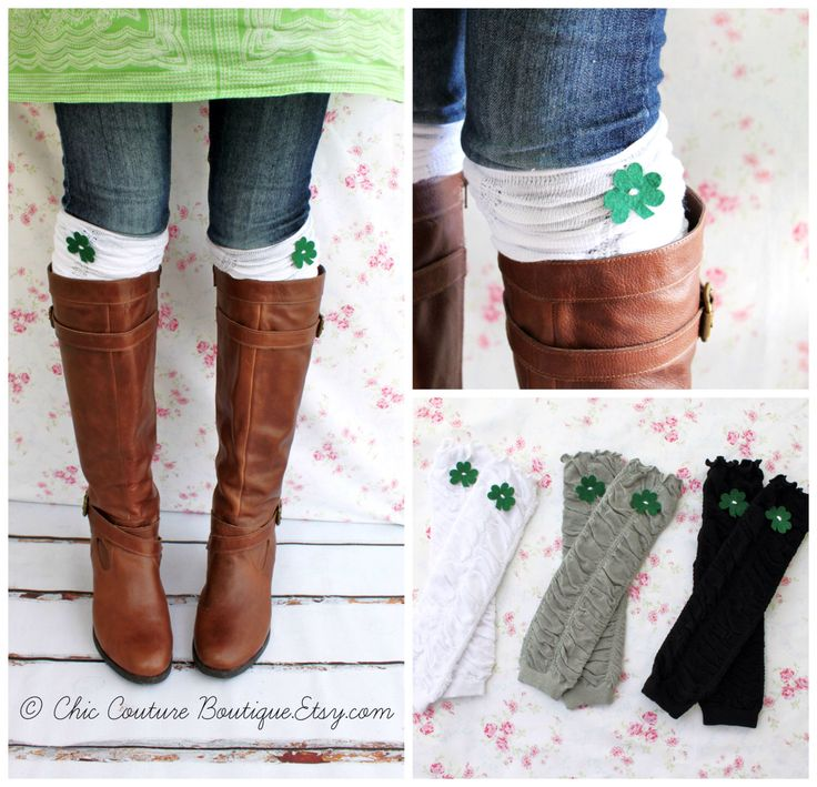 St Patrick's Day Ruffle Boot Cuffs Girl's Women's Ruffle Leg Warmers w Green Felt Clover Shamrock. Boot Socks Leggings Toppers Gray Black by ChicCoutureBoutique on Etsy https://www.etsy.com/listing/179547196/st-patricks-day-ruffle-boot-cuffs-girls