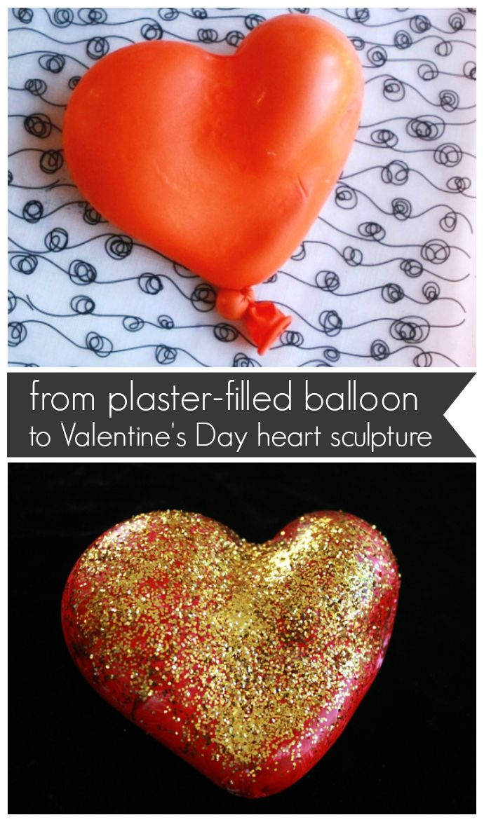From Plaster-Filled Balloon to Valentine's Day Heart Sculpture -- Great kids' craft and gift!