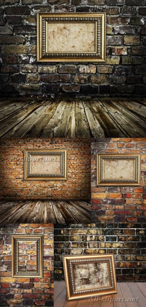 Золотые винтажные рамы на кирпичной стене - растровый клипарт | Vintage Frames