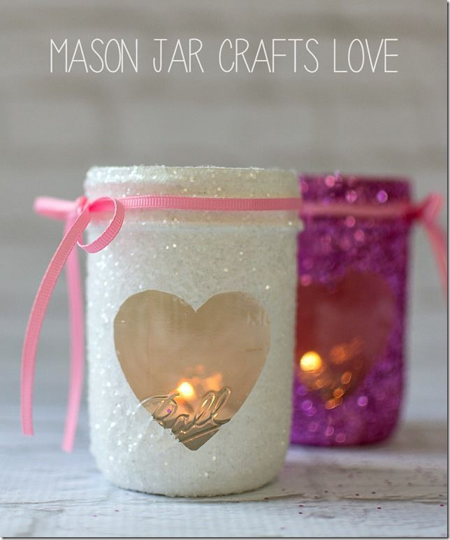 Valentine Glitter Votives made from half-pint mason jars. Easy and fun diy!