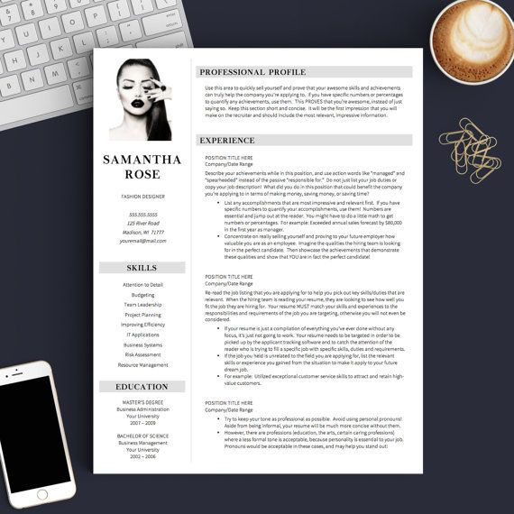 Modern Resume Template With Picture For Word U0026 Pages | 1, 2 And 3 Page  Template + Cover Letter + References + Icons | Professional Resume  Creative Professional Resumes