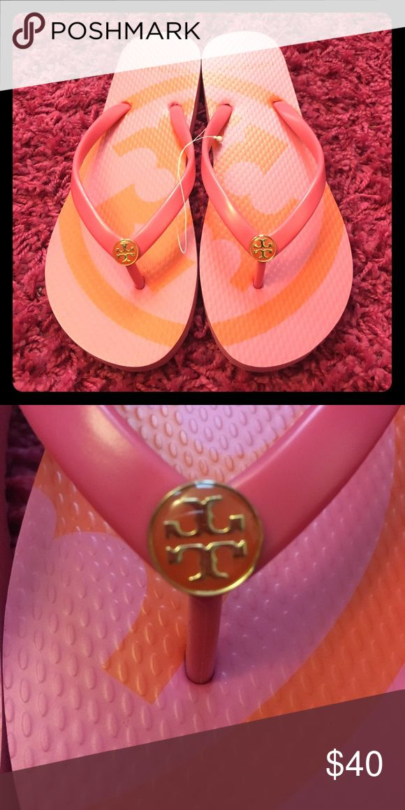 Tory burch flip flops NWT Pink and orange flip flops, a summer essential Tory Burch Shoes Sandals