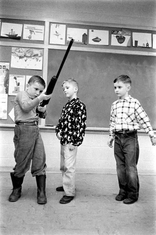 Gun safety instruction in Indiana schools, 1956.  My husband took a rifle to school back in the day for Show & Tell.