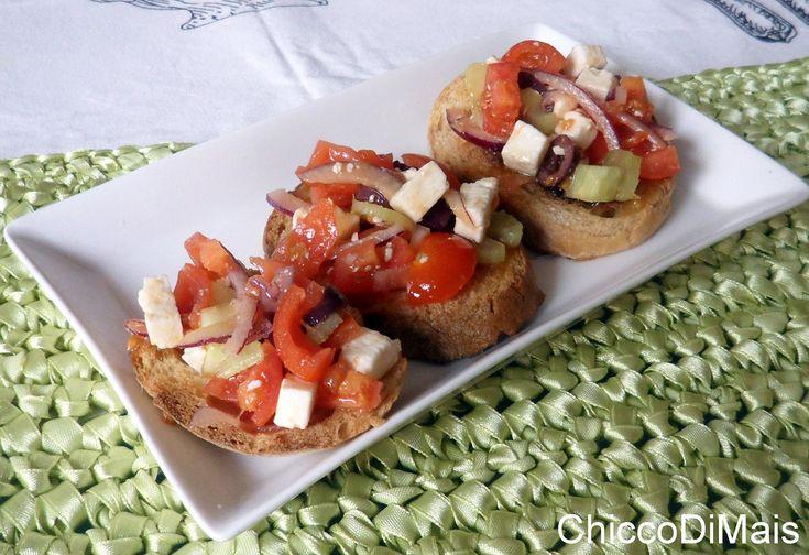 Bruschette alla greca ricetta estiva il chicco di mais