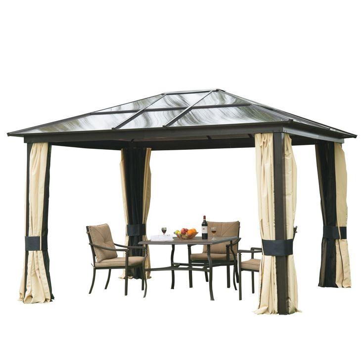 Amazonde OutsunnyR Luxus Pavillon Gartenpavillon Alu Partyzelt Gartenzelt Mit Lichtdurchlassigem PC Dach