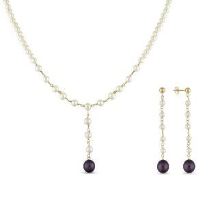 10K Yellow Gold Freshwater Black and White Pearls Set of Necklace and Earrings Amour. $108.99. Save 50%!