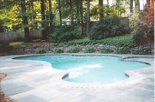 Pool idea for sloped yard for the home pinterest for Pool design for sloped yard