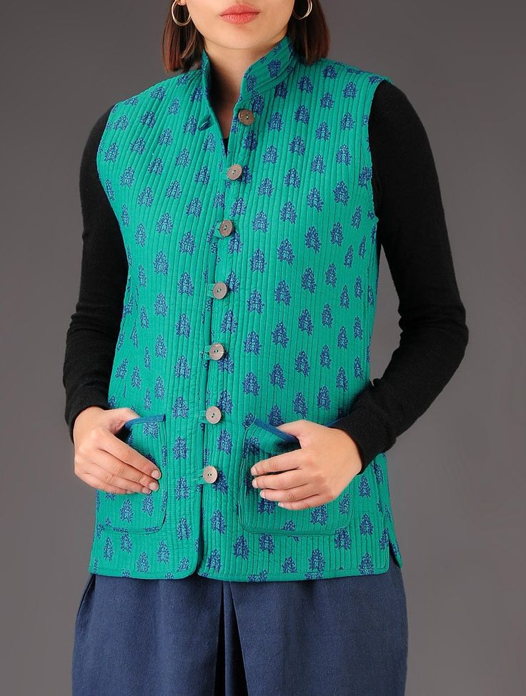 Buy Turquoise Blue Printed Reversible Quilted Jacket Cotton Winter Whims Vibrant Jackets Online at Jaypore.com