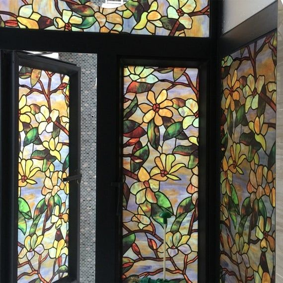 Morocco Stained Glass Window Filmprivacy Decorative Etsy Stained Glass Window Film Window Art Window Film Privacy