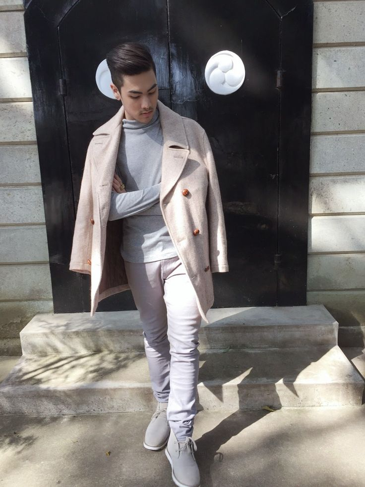 Shop this look on Lookastic:  https://lookastic.com/men/looks/beige-pea-coat-grey-turtleneck-grey-chinos/14994  — Grey Turtleneck  — Beige Pea Coat  — Grey Chinos  — Grey Suede Desert Boots