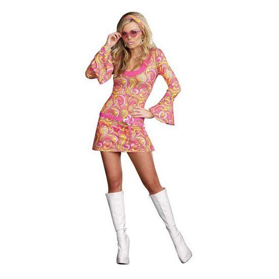 Sexy roze retro jaren 60 jurkje. Dit roze retro stretch jurkje is compleet met haarband, riem, zonnebril en oorbellen. Excl. schoenen. Carnavalskleding 2015 #carnaval