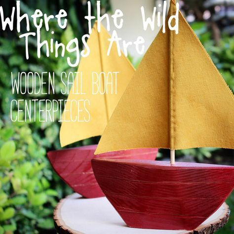 Handmade Wooden Where the Wild Things Are Inspired Sail Boat Centerpiece perfect for any baby shower or birthday party cake table or candy bar decoration